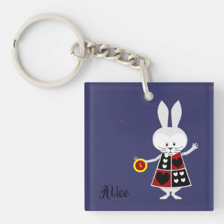 White Rabbit - Alice's Adventures in Wonderland Single-Sided Square Acrylic Keychain