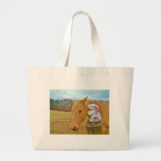 White rabbit and blond yellow horse large tote bag