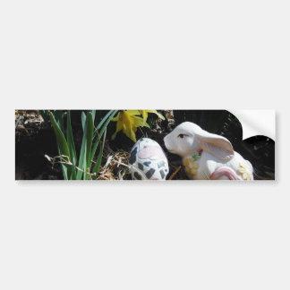 White rabbit and cow egg bumper sticker