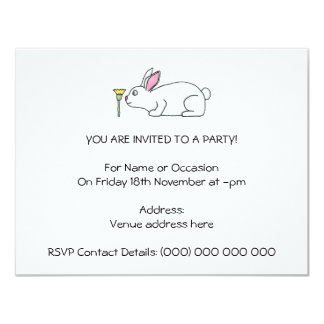 White Rabbit and Flower. 4.25x5.5 Paper Invitation Card