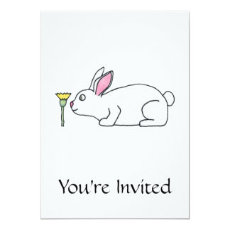 White Rabbit and Flower. 5x7 Paper Invitation Card