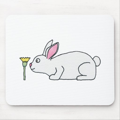 White Rabbit and Flower. Mousepad