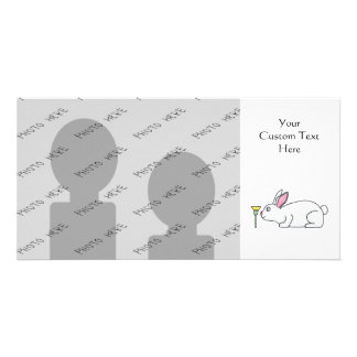White Rabbit and Flower. Photo Card Template