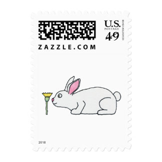 White Rabbit and Flower. Postage Stamp