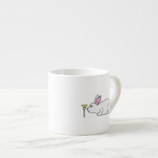 White Rabbit and Flower. 6 Oz Ceramic Espresso Cup
