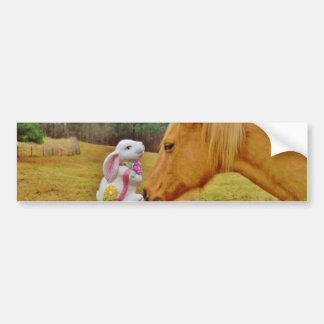 White Rabbit and Yellow Horse Bumper Sticker