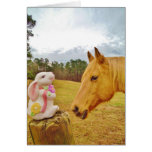 White Rabbit and Yellow Horse Greeting Cards