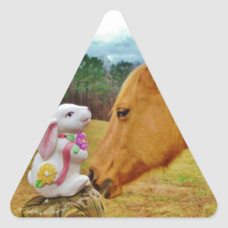 White Rabbit and Yellow Horse Triangle Stickers