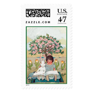 White Rabbit and Young Girl Learn to Read Together Postage Stamp