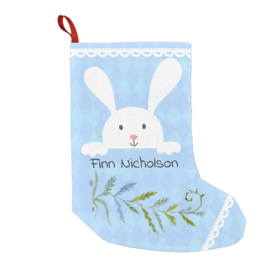 White Rabbit Blue Diamond Shape Small Christmas Stocking