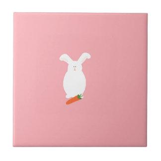White Rabbit. Bunny and carrot art print design Tile