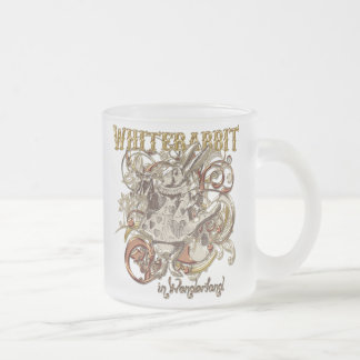 White Rabbit Carnivale Style (Gold Version) Frosted Glass Coffee Mug