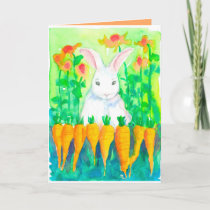 White Rabbit Carrots Happy Easter Holiday Card