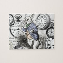 White Rabbit Clocks Alice in Wonderland Jigsaw Puzzle