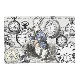 White Rabbit Clocks Alice in Wonderland Placemat