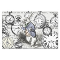 White Rabbit Clocks Alice in Wonderland Tissue Paper