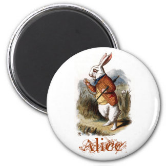 White Rabbit (color) 2 Inch Round Magnet