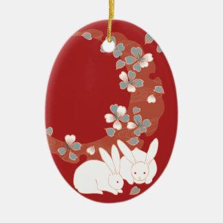 White Rabbit Cute Girly Vintage Christmas Tree Ornaments