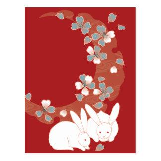 White Rabbit Cute Girly Vintage Postcard