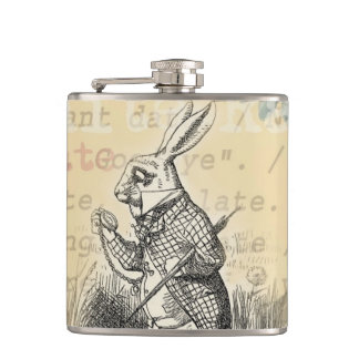 White Rabbit from Alice in Wonderland Flask