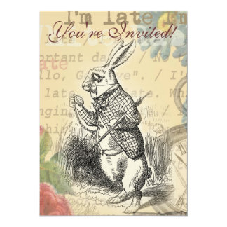 White Rabbit from Alice in Wonderland 4.5x6.25 Paper Invitation Card