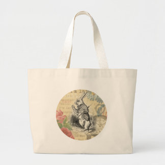 White Rabbit from Alice in Wonderland Large Tote Bag