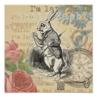 White Rabbit from Alice in Wonderland Poster