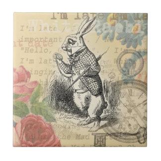 White Rabbit from Alice in Wonderland Tile