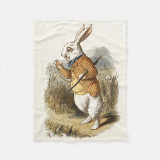 White Rabbit from Alice In Wonderland Vintage Art Fleece Blanket