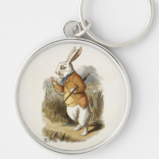 White Rabbit from Alice In Wonderland Vintage Art Keychain