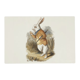 White Rabbit from Alice In Wonderland Vintage Art Placemat