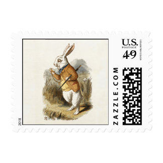 White Rabbit from Alice In Wonderland Vintage Art Postage