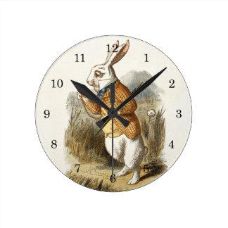 White Rabbit from Alice In Wonderland Vintage Art Round Clock