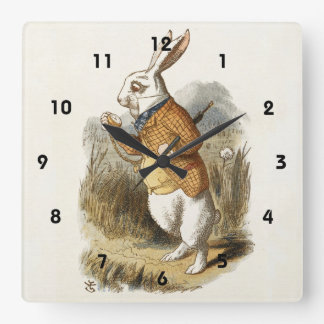 White Rabbit from Alice In Wonderland Vintage Art Square Wall Clock