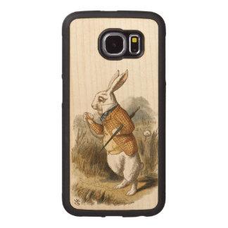 White Rabbit from Alice In Wonderland Vintage Art Wood Phone Case
