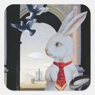 White Rabbit Goes to Paris Square Sticker