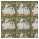 White Rabbit Green Floral Spring Easter Fabric Art