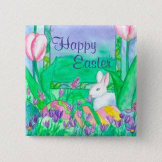 White Rabbit Happy Easter Pinback Button