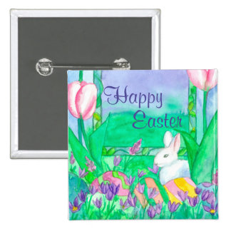White Rabbit Happy Easter Pinback Button