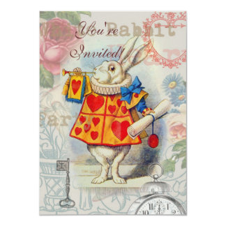 White Rabbit Hearts 4.5x6.25 Paper Invitation Card