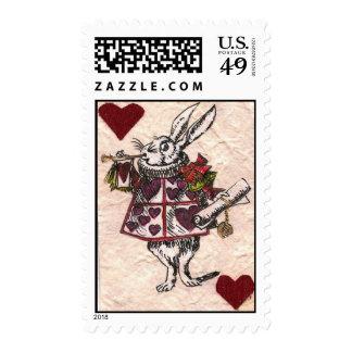 white rabbit hearts medium postage