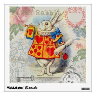 White Rabbit Hearts Wall Sticker