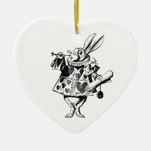 White Rabbit Herald Inked Black Christmas Ornaments