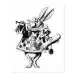 White Rabbit Herald Inked Black Postcard