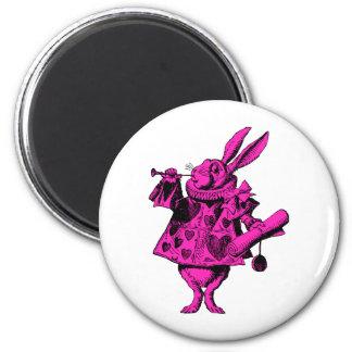 White Rabbit Herald Inked Pink Fill 2 Inch Round Magnet