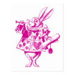 White Rabbit Herald Inked Pink Post Card
