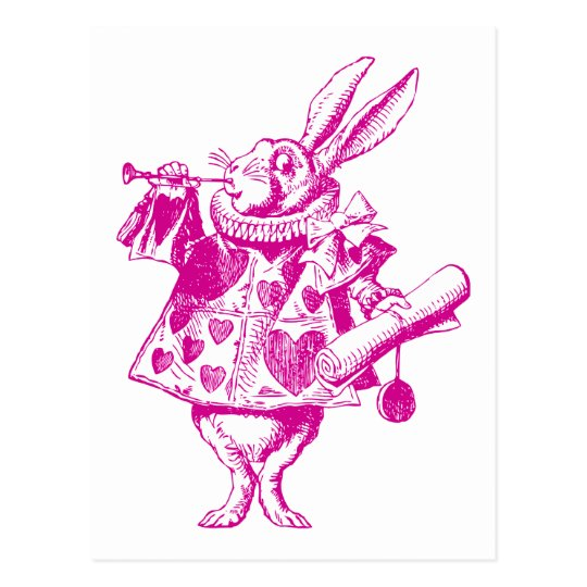 White Rabbit Herald Inked Pink Postcard