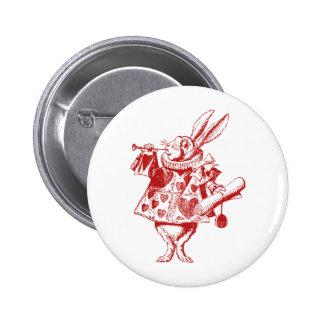 White Rabbit Herald Inked Red Pinback Button