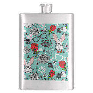 White rabbit in roses flask