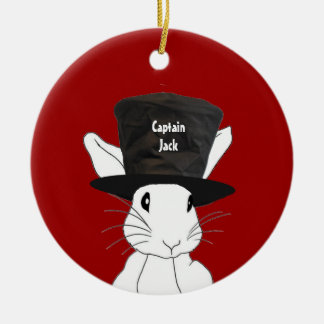 White Rabbit  in Top Hat Ornament